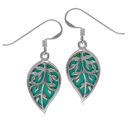 Created Green Turquoise White Gold Plated 925 Sterling Silver Tree of Life Drop Dangle Hook Earrings