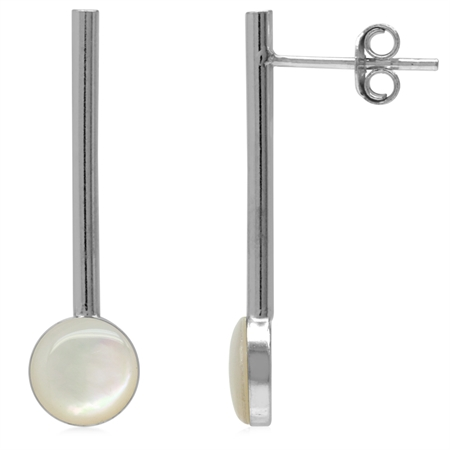 7MM Round Shape White Mother Of Pearl 925 Sterling Silver Long Pin Style Vertical Stick Earrings