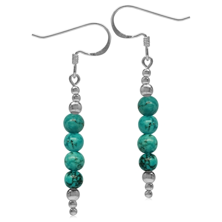 Created Green Turquoise w/Bead Balls 925 Sterling Silver Journey Dangle Hook Earrings