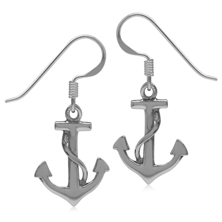 White Gold Plated 925 Silver Sterling Anchor & Rope Marine Sailor Dangle Hook Earrings