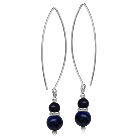 Twin Created Blue Lapis Sphere Ball 925 Sterling Silver White Gold Plated Threader Earrings