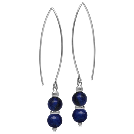 6MM Twin Created Blue Lapis Sphere Ball 925 Sterling Silver White Gold Plated Threader Earrings