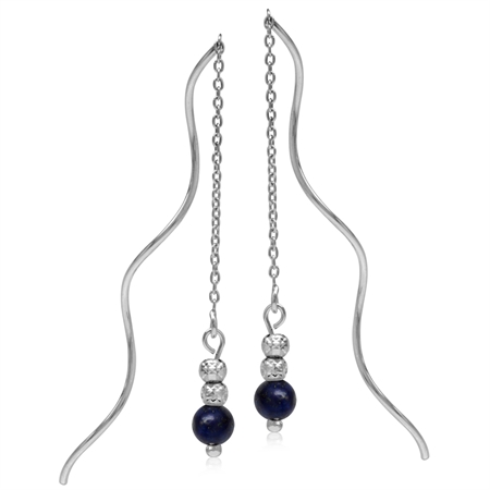 5MM Created Blue Lapis w/Textured Bead Balls 925 Sterling Silver Wavy Minimalist Threader Earrings