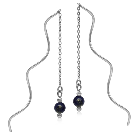 5MM Created Blue Lapis Sphere Ball 925 Sterling Silver Wavy Minimalist Threader Earrings
