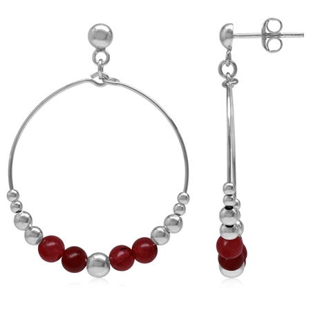 Graduated Red Agate w/Bead Balls 925 Sterling Silver White Gold Plated O-Hoop Stud/Post Earrings