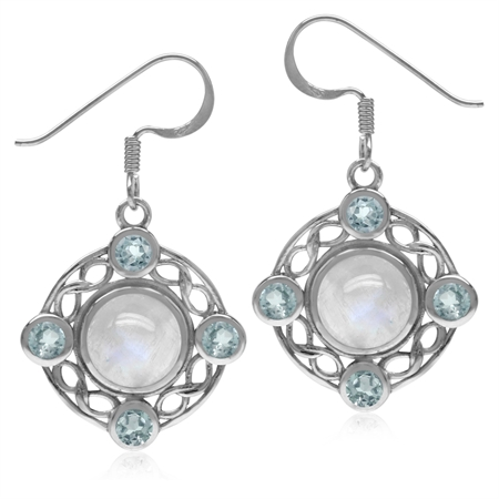 8MM Natural Moonstone & Blue Topaz 925 Sterling Silver Celtic Knot Ribbon/Weave Dangle Earrings