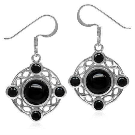 8MM Genuine Black Onyx & Spinel 925 Sterling Silver Celtic Knot Ribbon/Weave Dangle Hook Earrings