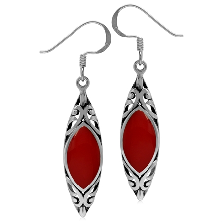 14x7MM Created Marquise Shape Red Coral 925 Sterling Silver Filigree Dangle Hook Earrings