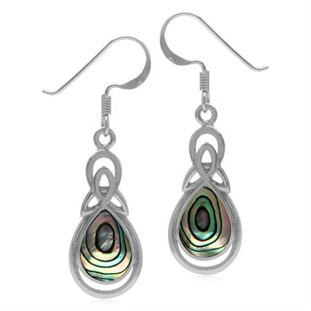Pear Shape Abalone/Paua Shell Inlay 925 Sterling Silver Triquetra Celtic Knot Drop Dangle Earrings