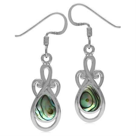 8x6MM Pear Shape Abalone/Paua Shell Inlay 925 Sterling Silver Swirl & Spiral Dangle Hook Earrings