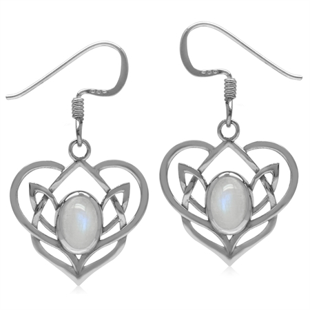 Natural Moonstone 925 Sterling Silver Celtic Heart Knot Dangle Earrings-Light Weight