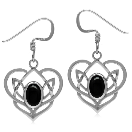 Genuine Onyx 925 Sterling Silver Celtic Heart Knot Dangle Earrings-Light Weight