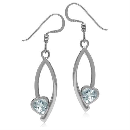 5MM Genuine Heart Shape Blue Aquamarine 925 Sterling Silver Drop Dangle Earrings