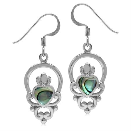 6MM Heart Abalone/Paua Shell 925 Sterling Silver Irish Claddagh Loyalty Earrings