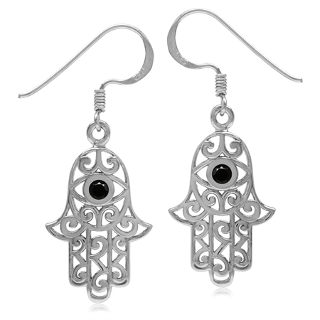 Natural Black Spinel 925 Sterling Silver Evil Eye On Hamsa Hand Dangle Earrings