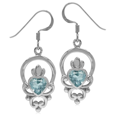 1.84ct 6MM Blue Topaz 925 Sterling Silver Irish Claddagh Loyalty Symbol Earrings