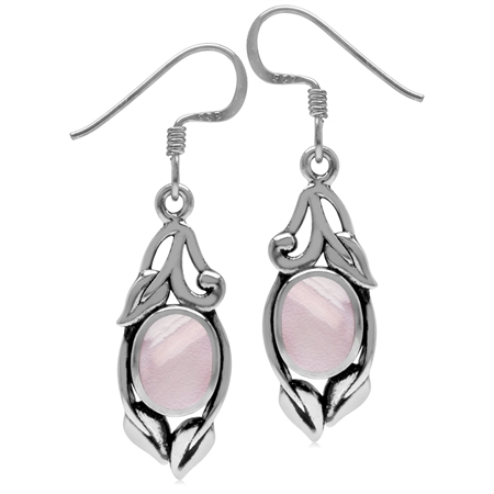 8x6MM Oval Shape Pink Mother Of Pearl 925 Sterling Silver Leaf Vintage Inspired Dangle Earrings