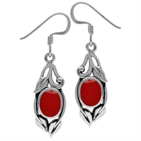 8x6MM Oval Shape Created Coral 925 Sterling Silver Leaf Vintage Inspired Hook Earrings