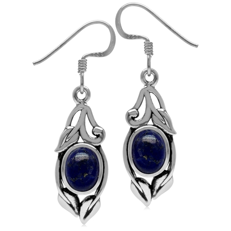 8x6MM Genuine Oval Shape Blue Lapis 925 Sterling Silver Leaf Vintage Inspired Hook Earrings