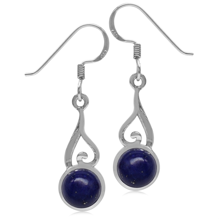 7MM Genuine Round Shape Blue Lapis 925 Sterling Silver Swirl & Spiral Style Dangle Hook Earrings