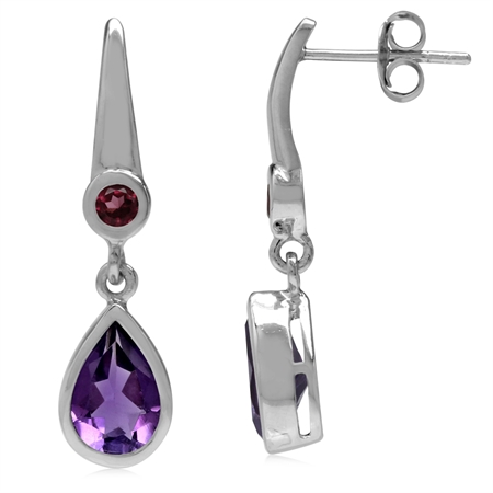 2.3ct Pear Natural African Amethyst & Rhodolite Garnet 925 Sterling Silver Drop Dangle Post Earrings