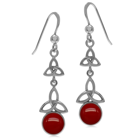 Created Red Coral White Gold Plated 925 Sterling Silver Triquetra Celtic Knot Dangle Hook Earrings