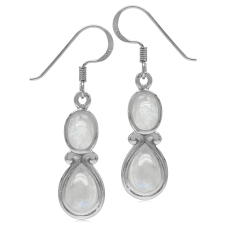 Natural Moonstone White Gold Plated 925 Sterling Silver Victorian Swirl Style Dangle Hook Earrings