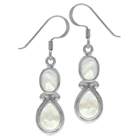 White Mother Of Pearl Inlay 925 Sterling Silver Victorian Swirl Style Dangle Hook Earrings