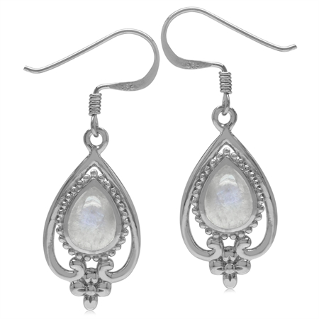 8x6MM Natural Pear Shape Moonstone 925 Sterling Silver Victorian Style Flower Drop Dangle Earrings