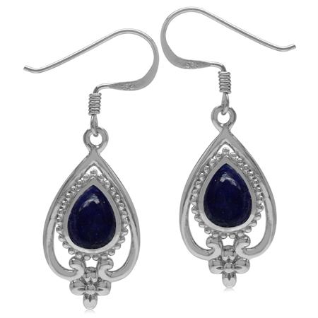 8x6MM Genuine Pear Shape Blue Lapis 925 Sterling Silver Victorian Style Flower Drop Dangle Earrings