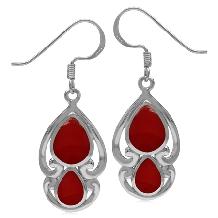 Created Pear Shape Red Coral 925 Sterling Silver Victorian Swirl Style Dangle Hook Earrings