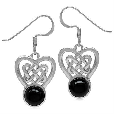 7MM Genuine Round Shape Black Onyx 925 Sterling Silver Celtic Heart Knot Dangle Hook Earrings