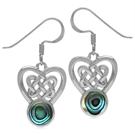 7MM Round Shape Abalone/Paua Shell Inlay 925 Sterling Silver Celtic Heart Knot Dangle Hook Earrings