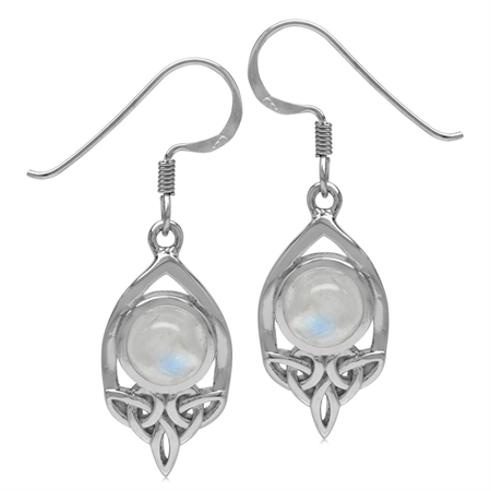 7MM Natural Round Shape Moonstone 925 Sterling Silver Triquetra Celtic Knot Dangle Hook Earrings