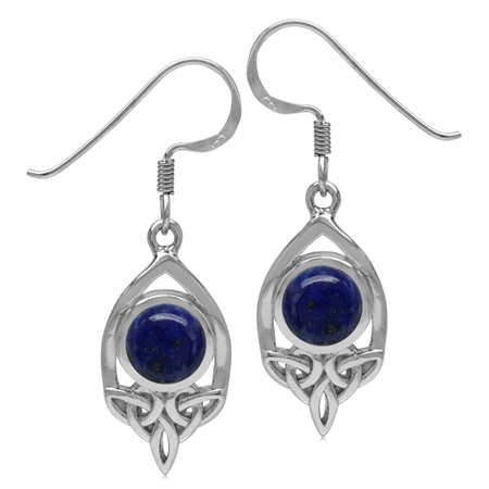 7MM Genuine Round Shape Blue Lapis 925 Sterling Silver Triquetra Celtic Knot Dangle Hook Earrings