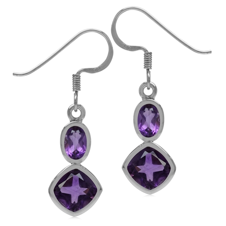 3.7ct. Natural African Amethyst White Gold Plated 925 Sterling Silver Geometric Dangle Hook Earrings
