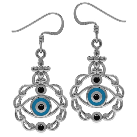 Black CZ & Blue Enamel 925 Sterling Silver Evil Eye Dangle Hook Earrings