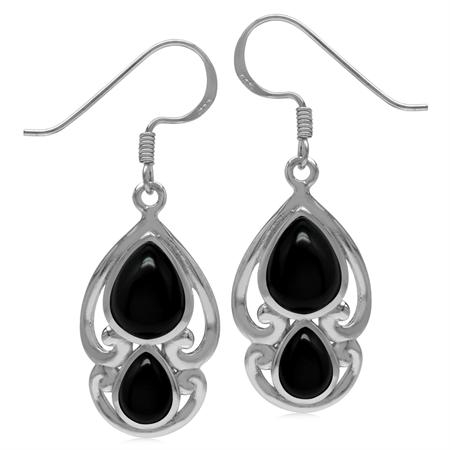 Genuine Pear Shape Black Onyx 925 Sterling Silver Victorian Swirl Style Dangle Hook Earrings
