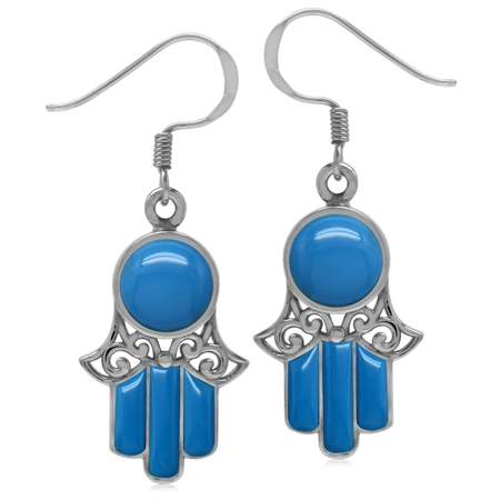 Created Blue Turquoise White Gold Plated 925 Sterling Silver Filigree Hamsa Hand Dangle Earrings