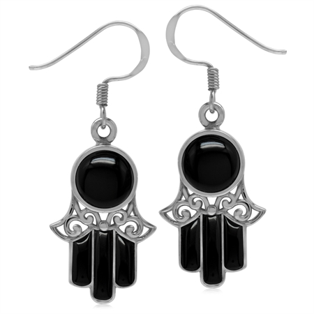 Genuine Black Onyx White Gold Plated 925 Sterling Silver Filigree Hamsa Hand Dangle Hook Earrings