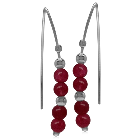 4MM Red Agate Sphere Ball 925 Sterling Silver White Gold Plated Threader Earrings
