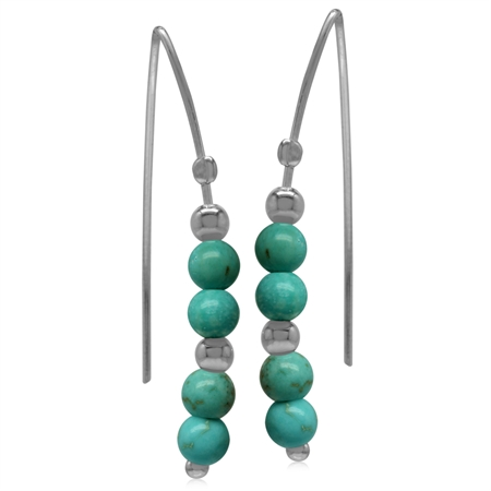 4MM Created Green Turquoise Sphere Ball 925 Sterling Silver Threader Earrings