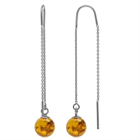 8MM Honey Amber Sphere Ball 925 Sterling Silver Minimalist Threader Chain Earrings