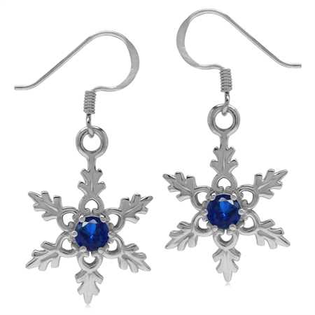 Synthetic Sapphire Blue 925 Sterling Silver Snowflake Dangle Hook Earrings