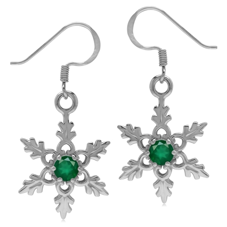 Natural Emerald Green Agate 925 Sterling Silver Snowflake Dangle Hook Earrings