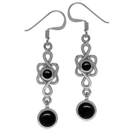 6MM Genuine Round Shape Black Onyx 925 Sterling Silver Celtic Knot/Weave Dangle Hook Earrings