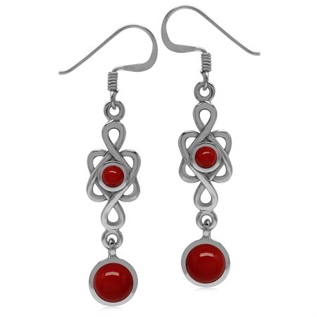 6MM Created Round Shape Red Coral 925 Sterling Silver Celtic Knot/Weave Dangle Hook Earrings