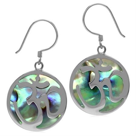 20MM Round Abalone/Paua Shell 925 Sterling Silver Aum Ohm Om Hindu Yoga Symbol Dangle Hook Earrings