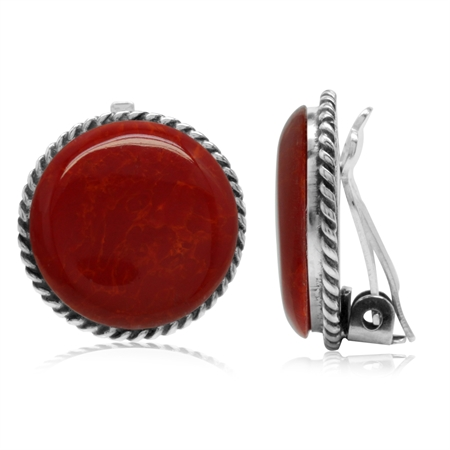 Created Red Coral 925 Sterling Silver Round Disc Shape Clip-on Earrings