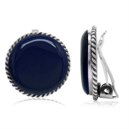 Created Lapis 925 Sterling Silver Round Disc Shape Clip-on Earrings